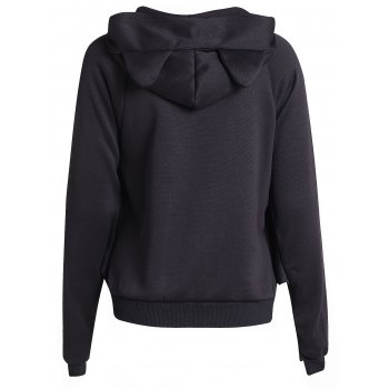 Chic Long Batwing Sleeve Hooded Pure Color Women's Jacket