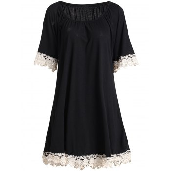 Sweet Women's Scoop Neck Half Sleeve Lace Spliced Dress