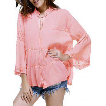 Trendy Plus Size Tassels Design Solid Color Blouse For Women