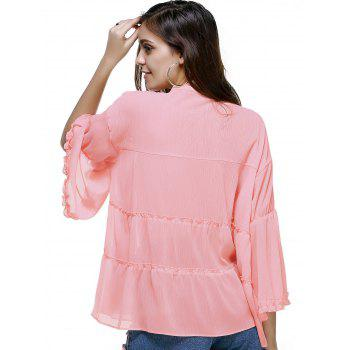 Trendy Plus Size Tassels Design Solid Color Blouse For Women - 3XL 3XL