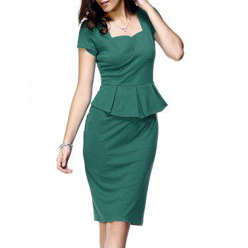 Elegant Short Sleeve Flounce Waist Women's Bodycon Dress - LAKE GREEN LAKE GREEN