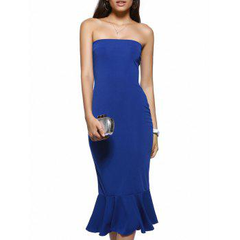 Trendy Strapless Solid Color Backless Bodycon Dress - BLUE L