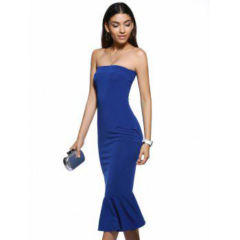 Trendy Strapless Solid Color Backless Bodycon Dress - L L