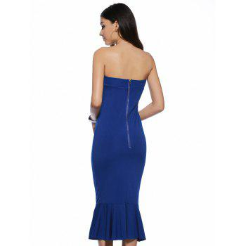 Trendy Strapless Solid Color Backless Bodycon Dress - BLUE BLUE