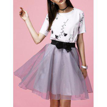 Buy Chic Floral Print Round Neck T-Shirt + Voile Spliced Bowknot Design Skirt Women's Twinset WHITE