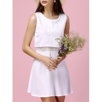 Charming Sleeveless Round Neck Furcal Slimming Lace Spliced Women's Dress - WHITE L