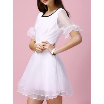 Sweet Bell Sleeve Layered Slimming Voile Spliced Women's Dress - WHITE S
