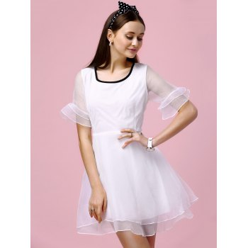 Sweet Bell Sleeve Layered Slimming Voile Spliced Women's Dress - S S