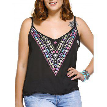 Fashionable Spaghetti Strap Geometric Print Plus Size Women's Tank Top - BLACK L