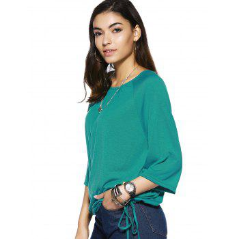 Elegant Pure Color Scoop Neck Bell Sleeve Tee For Women - GREEN XL