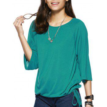 Elegant Pure Color Scoop Neck Bell Sleeve Tee For Women - GREEN GREEN