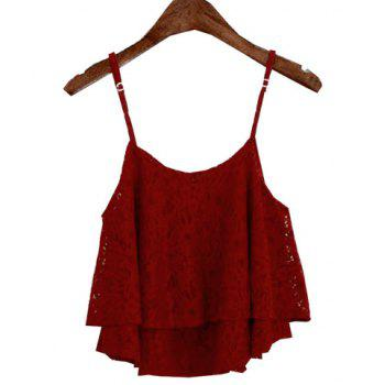 Stylish Spaghetti Strap Solid Color Lace Women's Tank Top