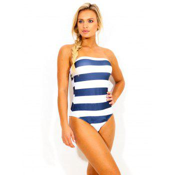 Women's Strapless Striped One Piece Swimwear