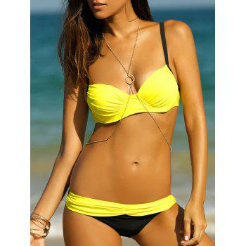 Bowknot Stylish Ruched Splicing Women's Bikini Set