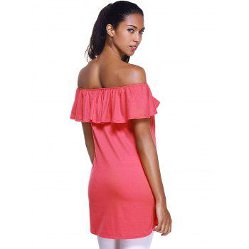 Off The Shoulder Flounce Stylish Irregular Hem Women's T-Shirt - RED L