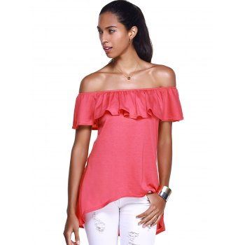 Off The Shoulder Flounce Stylish Irregular Hem Women's T-Shirt - RED S