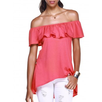 Off The Shoulder Flounce Stylish Irregular Hem Women's T-Shirt