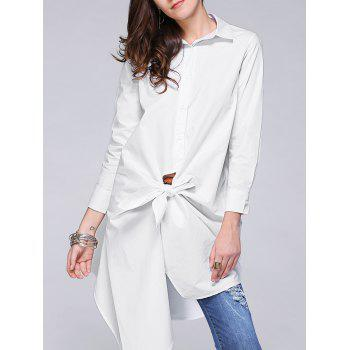 Refreshing Women's Irregular Solid Color Loose Shirt