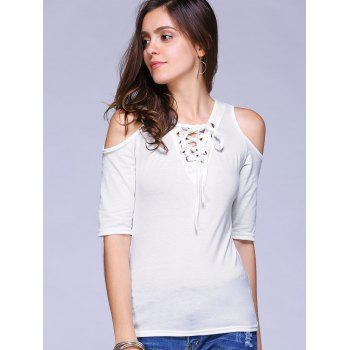 Stylish Women's V-Neck Lace Up Cold Shoulder T-Shirt - WHITE WHITE