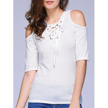 Stylish Women's V-Neck Lace Up Cold Shoulder T-Shirt