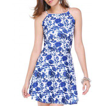 Refreshing Women's Floral Print Back Zipper Dress