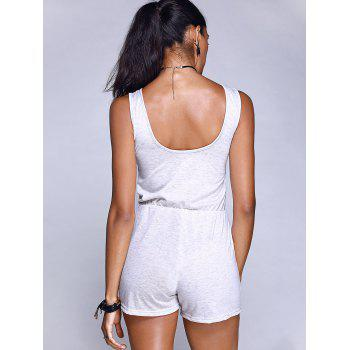 Sleeveless Pocket Design Bowknot Casual Women's Romper - GRAY L