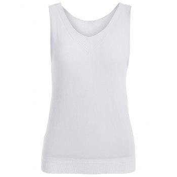 Simple Style Scoop Neck Knitted Women's Tank Top