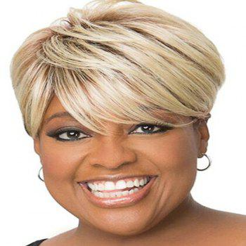 Fluffy Straight Blonde Mixed Spiffy Short Side Bang Capless Human Hair Wig For Women