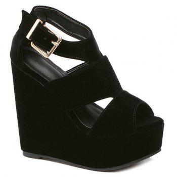 Trendy Black Colour and Peep Toe Design Women's Sandals