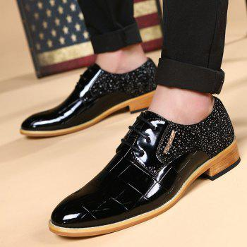 Trendy Patent Leather and Splicing Design Men's Formal Shoes - BLACK 43