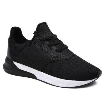 Fashionable Solid Color and Mesh Design Men's Athletic Shoes - BLACK BLACK