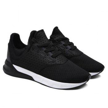 Fashionable Solid Color and Mesh Design Men's Athletic Shoes - BLACK 42