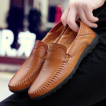 Stylish Stitching and Solid Color Design Men's Casual Shoes - BROWN 40