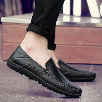 Stylish Stitching and Solid Color Design Men's Casual Shoes - BLACK 44