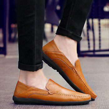 Stylish Stitching and Solid Color Design Men's Casual Shoes - LIGHT BROWN 42