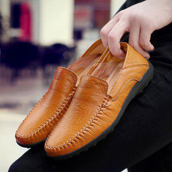 Stylish Stitching and Solid Color Design Men's Casual Shoes - LIGHT BROWN 40