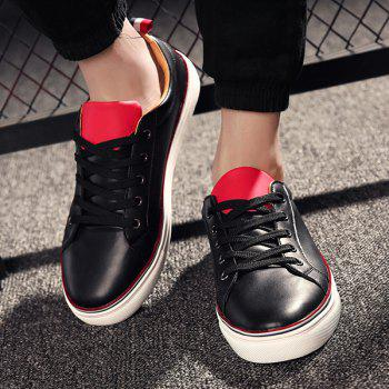 Stylish Tie Up and PU Leather Design Men's Casual Shoes - BLACK 42