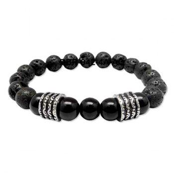 Simple Buddha Beads Etched Vesuvianite Bracelet For Men