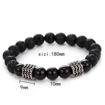 Simple Buddha Beads Etched Vesuvianite Bracelet For Men - BLACK