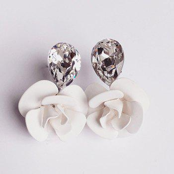 Flower Faux Crystal Stud Earrings