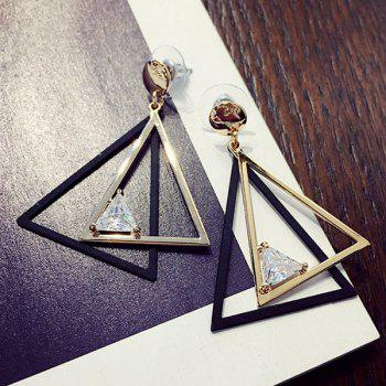 Hollow Out Overlap Triangle Rhinestone Earrings
