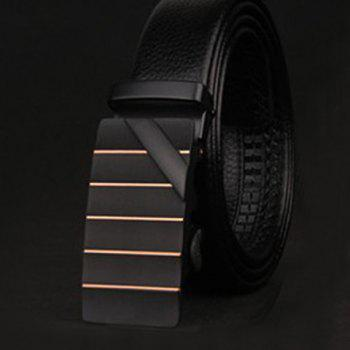 Stylish Slender Stripy and Wide Twill Embellished Formal Occasion Men's Belt - BLACK BLACK