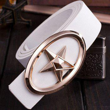 Stylish Golden Five-Pointed Star and Cut Out Oval Shape Embellished Men's PU White Belt