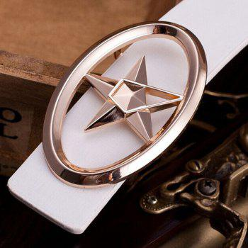 Stylish Golden Five-Pointed Star and Cut Out Oval Shape Embellished Men's PU White Belt - WHITE