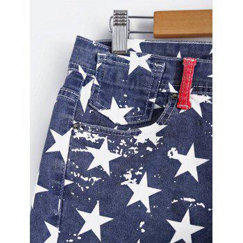 Fashionable American Flag Printing Washed Denim Shorts For Women - COLORMIX XL