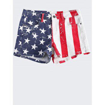 Fashionable American Flag Printing Washed Denim Shorts For Women