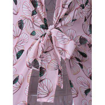 Trendy Collarless Print Thin Blouse For Women - SHALLOW PINK SHALLOW PINK