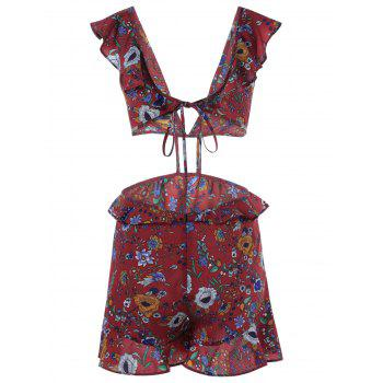 Stylish Printing V-Neck Dew Waist Jumpsuits For Women - COLORMIX S
