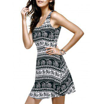 Fashionable U-Neck Elephant Pattern Printing Sleeveless Dress For Women