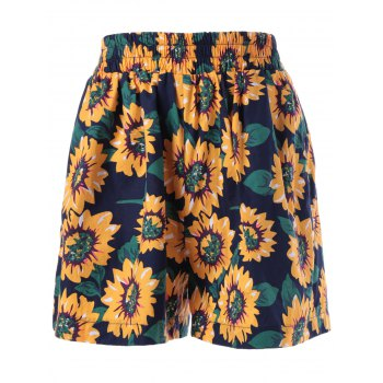 Stylish Printing Elastic Waist Shorts For Women